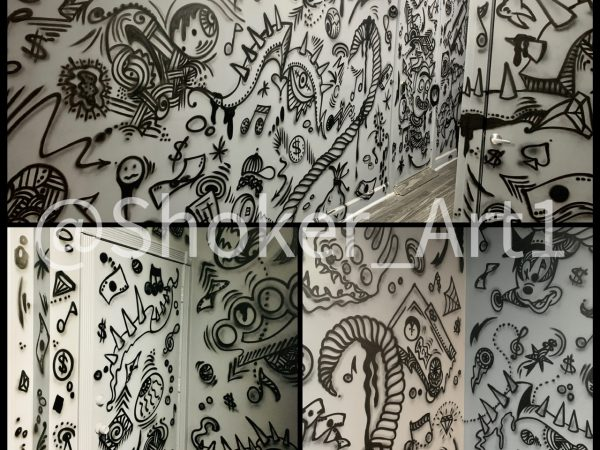 Graffiti doodles design for record studio hollywod Fl.
