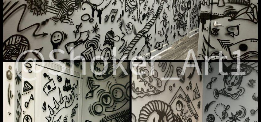 Graffiti doodles design for record studio hollywod Fl.